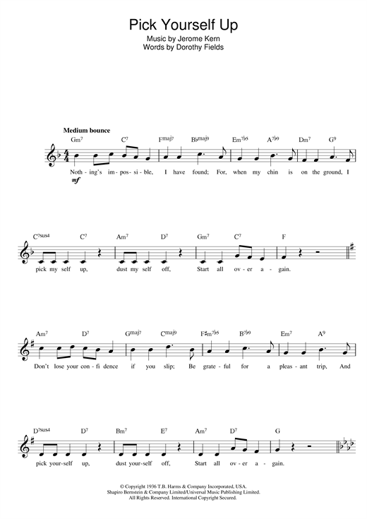 Download Jerome Kern & Dorothy Fields 'Pick Yourself Up' Digital Sheet Music Notes & Chords and start playing in minutes