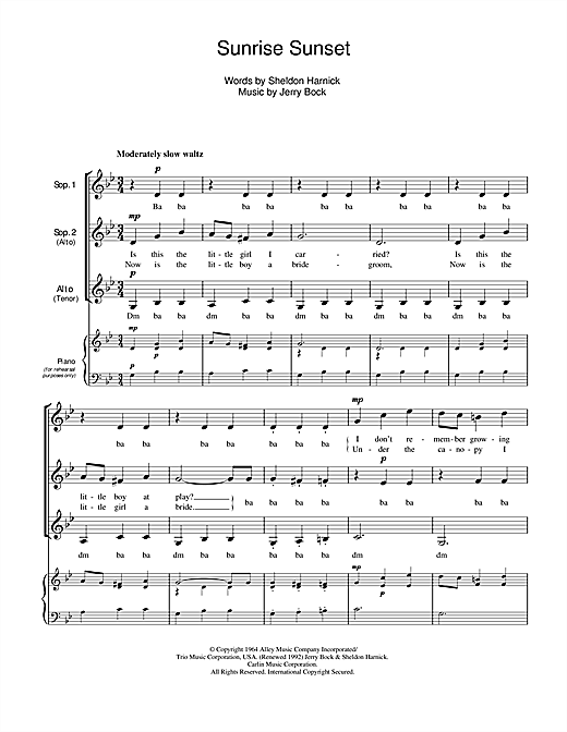Download Jerry Bock 'Sunrise, Sunset (from Fiddler On The Roof)' Digital Sheet Music Notes & Chords and start playing in minutes