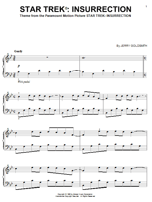 Jerry Goldsmith Star Trek(R) Insurrection sheet music preview music notes and score for Easy Piano including 5 page(s)