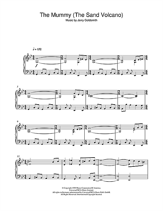 Download Jerry Goldsmith 'The Mummy (The Sand Volcano)' Digital Sheet Music Notes & Chords and start playing in minutes