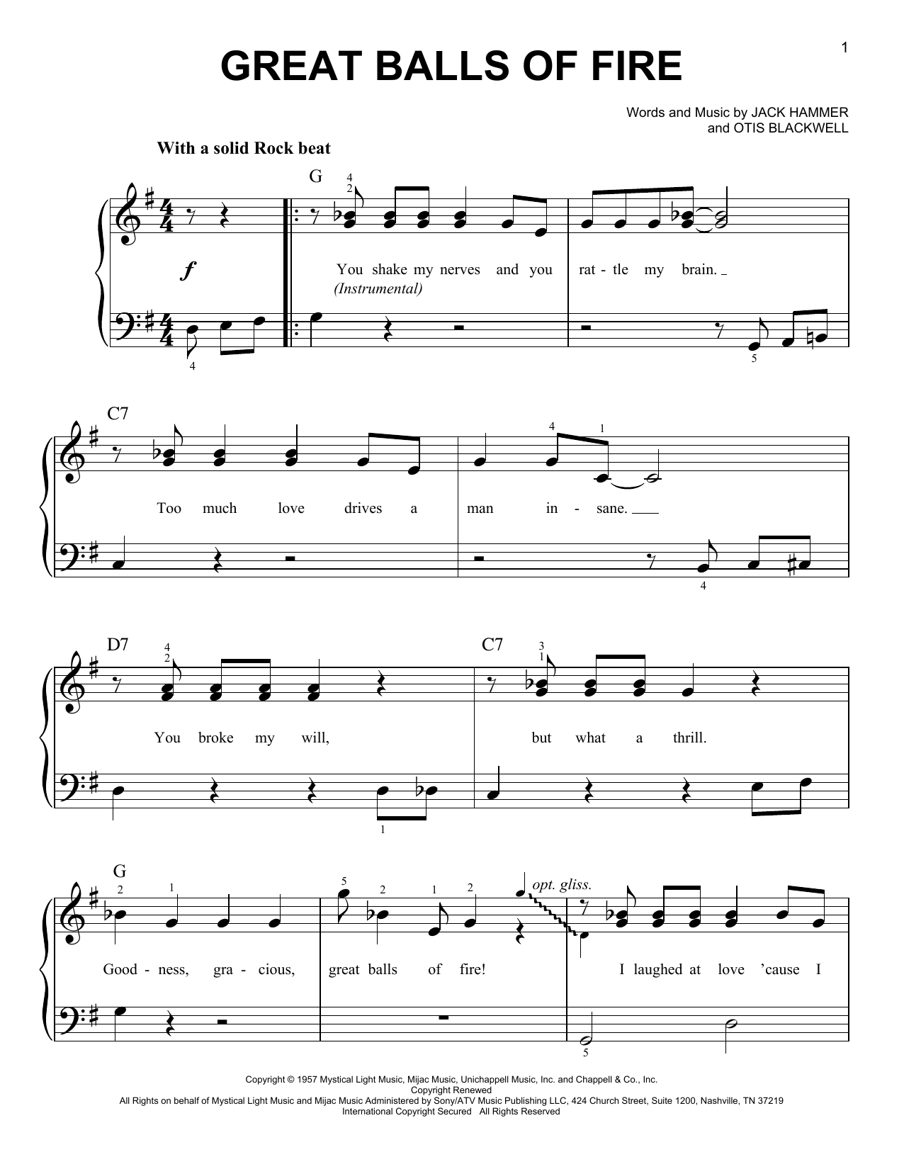 Jerry Lee Lewis Great Balls Of Fire sheet music preview music notes and score for E-Z Play Today including 3 page(s)