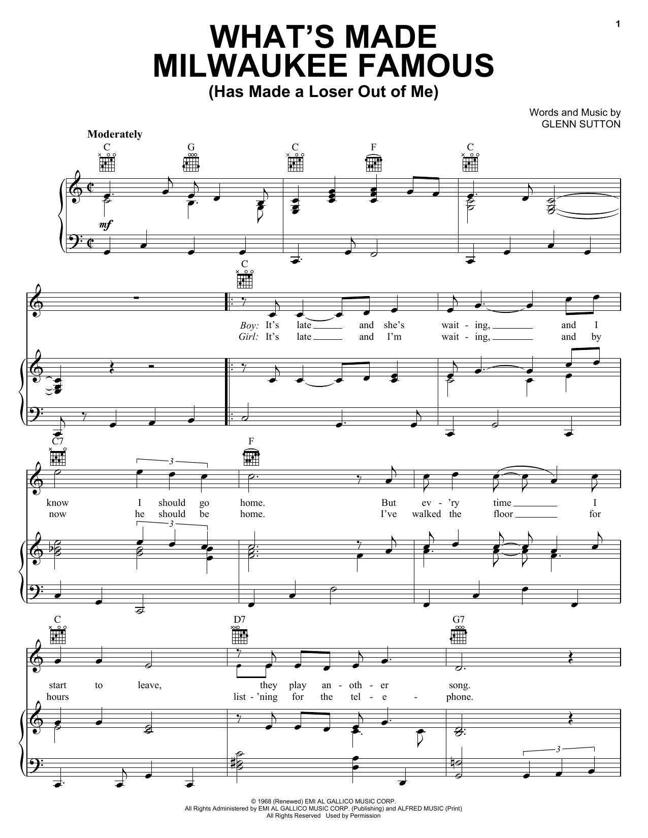 Jerry Lee Lewis What's Made Milwaukee Famous (Has Made A Loser Out Of Me) sheet music preview music notes and score for Piano, Vocal & Guitar (Right-Hand Melody) including 3 page(s)