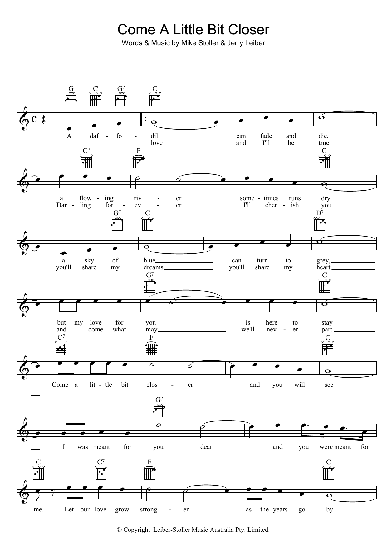 Jay & The Americans Come A Little Bit Closer sheet music preview music notes and score for Melody Line, Lyrics & Chords including 2 page(s)