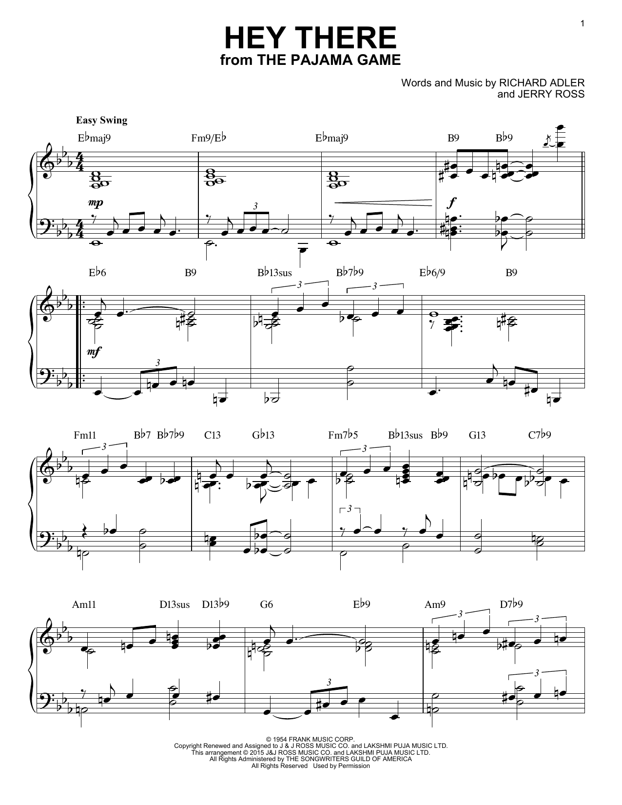 Download Jerry Ross 'Hey There' Digital Sheet Music Notes & Chords and start playing in minutes