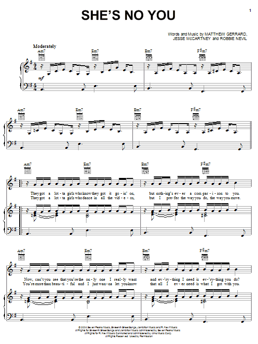 Jesse McCartney She's No You sheet music preview music notes and score for Easy Guitar Tab including 7 page(s)