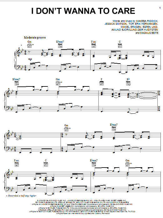 Jessica Simpson I Don't Wanna Care sheet music preview music notes and score for Piano, Vocal & Guitar (Right-Hand Melody) including 7 page(s)
