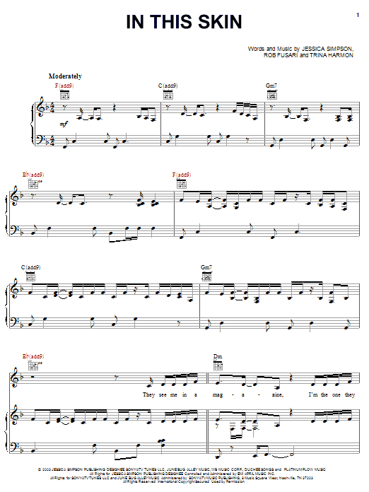 Jessica Simpson In This Skin sheet music preview music notes and score for Piano, Vocal & Guitar (Right-Hand Melody) including 11 page(s)
