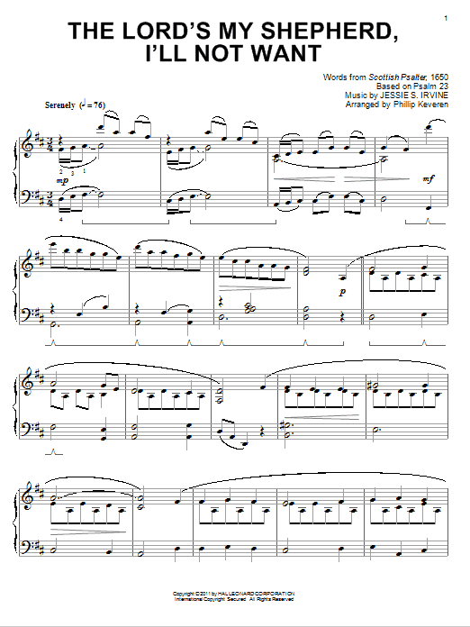 Download Jessie S. Irvine 'The Lord's My Shepherd, I'll Not Want' Digital Sheet Music Notes & Chords and start playing in minutes