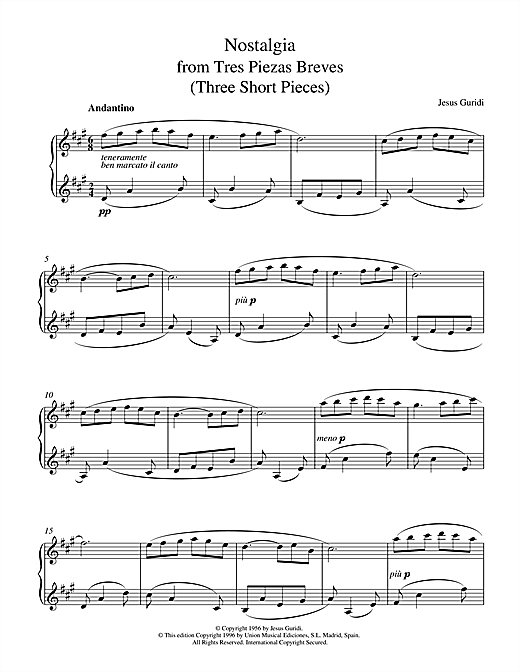 Download Jesus Guridi 'Nostalgia From Tres Piezas Breves' Digital Sheet Music Notes & Chords and start playing in minutes