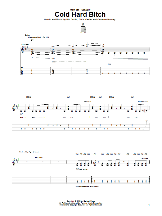 Jet Cold Hard Bitch sheet music preview music notes and score for Bass Guitar Tab including 5 page(s)
