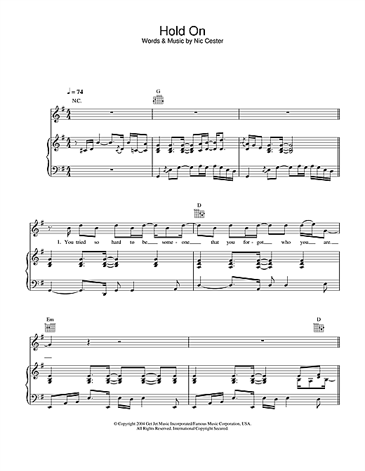 Jet Hold On sheet music notes and chords