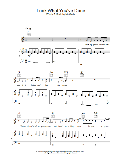 Jet Look What You've Done sheet music preview music notes and score for Guitar Tab including 4 page(s)
