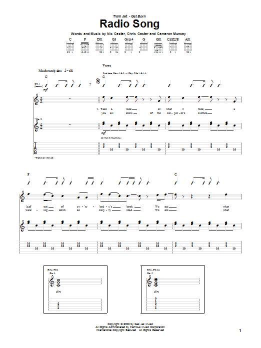 Jet Radio Song sheet music preview music notes and score for Guitar Tab including 8 page(s)