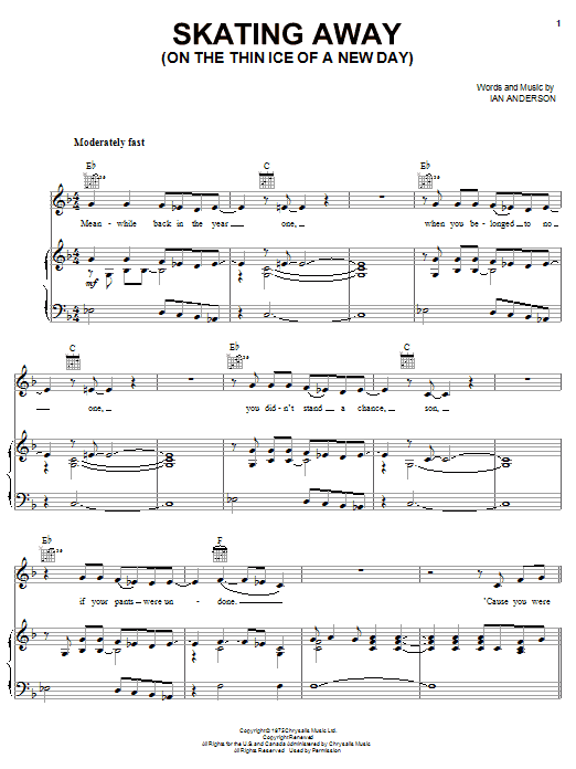 Jethro Tull Skating Away (On The Thin Ice Of A New Day) sheet music preview music notes and score for Piano, Vocal & Guitar (Right-Hand Melody) including 6 page(s)