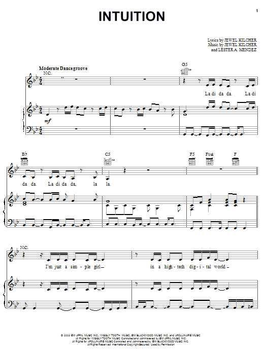Jewel Intuition sheet music preview music notes and score for Easy Guitar Tab including 5 page(s)