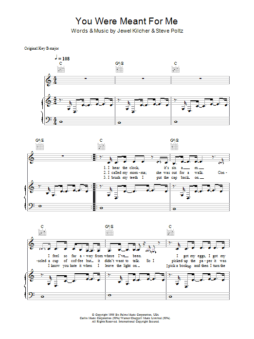 Jewel You Were Meant For Me sheet music preview music notes and score for Lyrics & Chords including 3 page(s)
