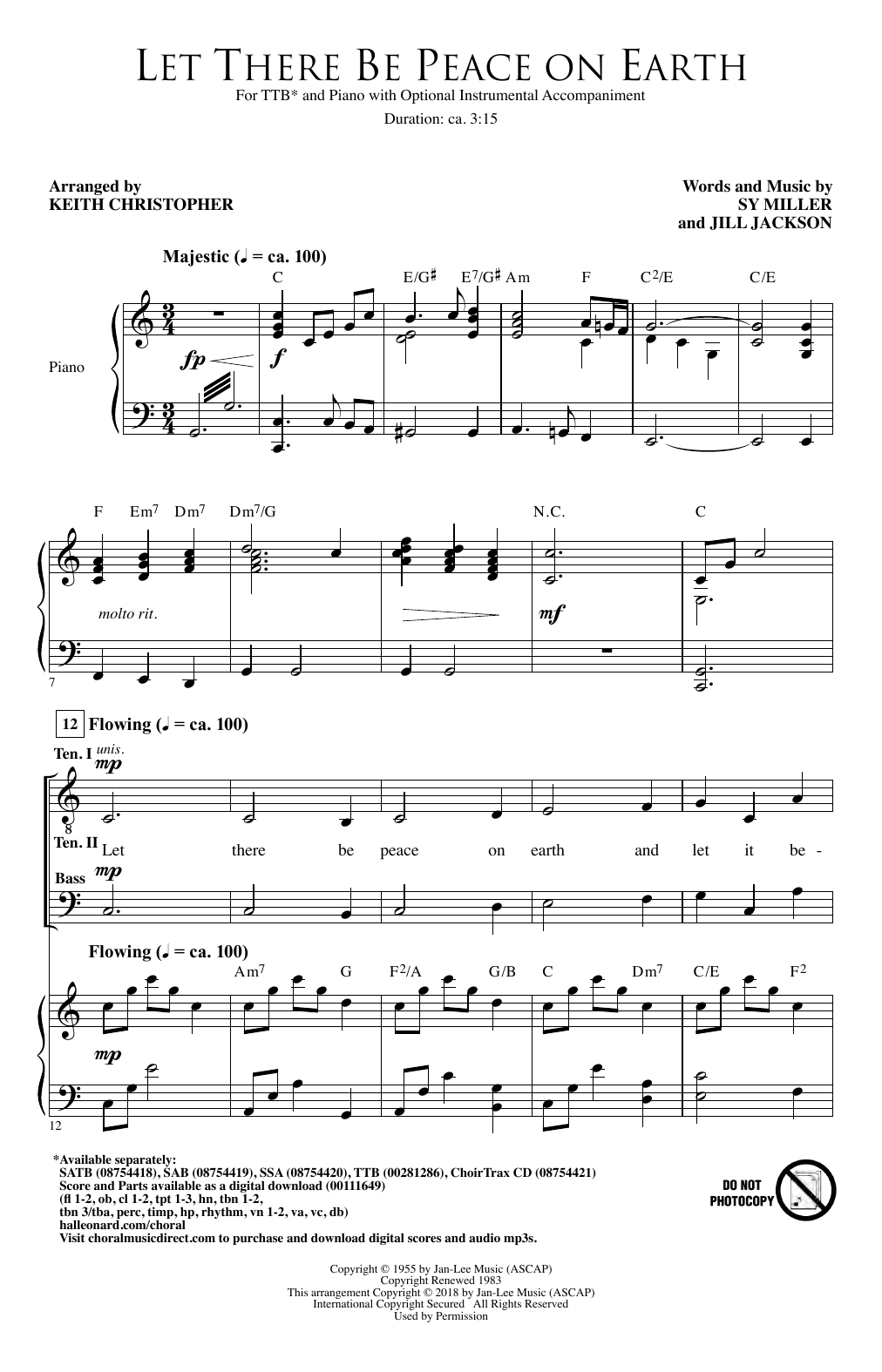 Download Jill Jackson & Sy Miller 'Let There Be Peace On Earth (arr. Keith Christopher)' Digital Sheet Music Notes & Chords and start playing in minutes