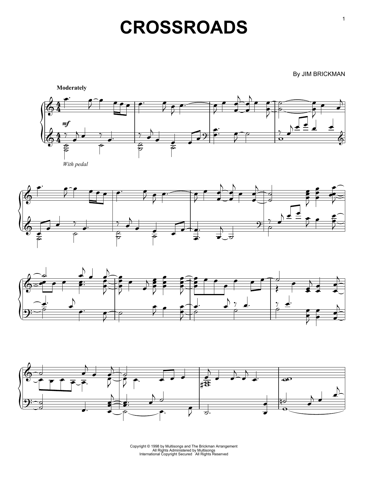 Download Jim Brickman 'Crossroads' Digital Sheet Music Notes & Chords and start playing in minutes