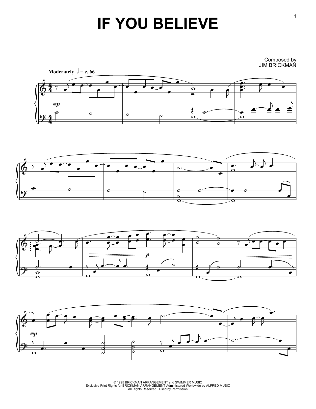 Download Jim Brickman 'If You Believe' Digital Sheet Music Notes & Chords and start playing in minutes