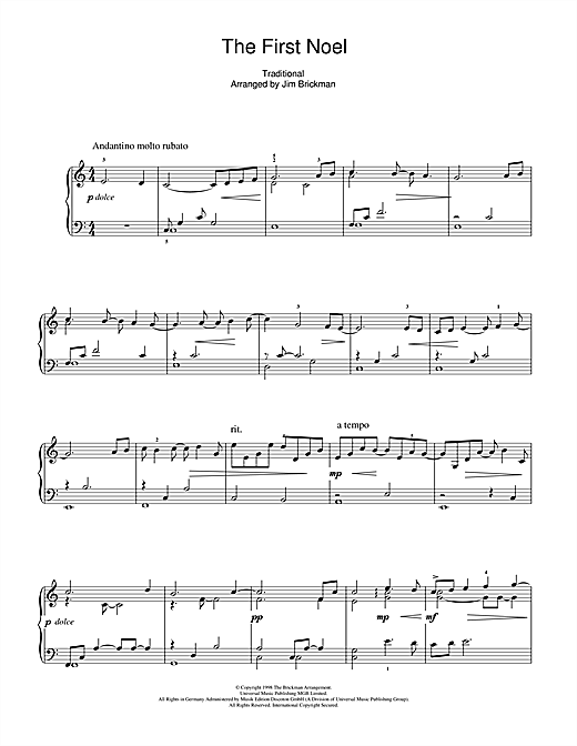 Jim Brickman The First Noel sheet music notes and chords