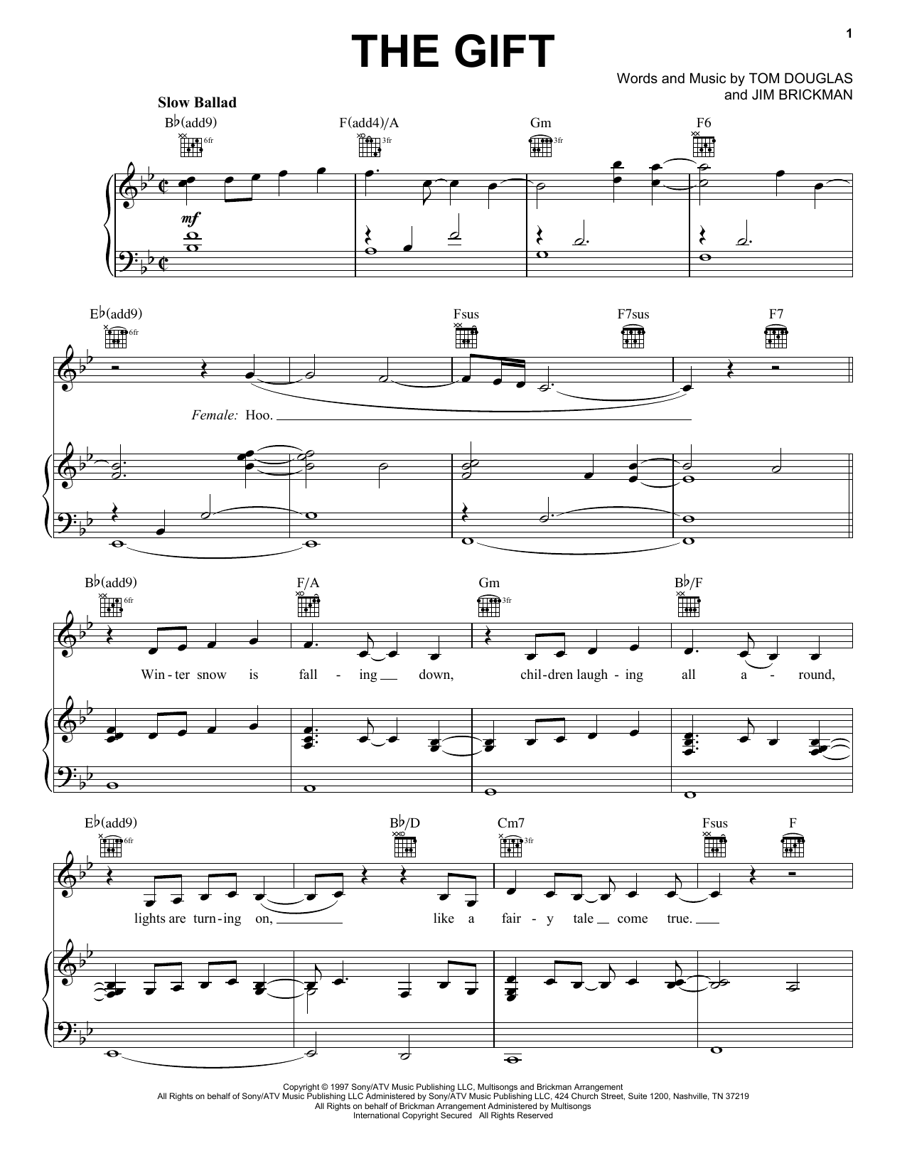 Jim Brickman The Gift sheet music preview music notes and score for Piano, Vocal & Guitar (Right-Hand Melody) including 7 page(s)