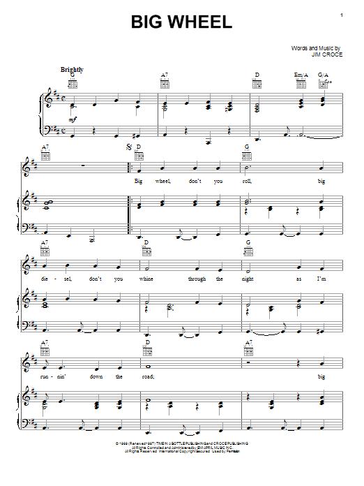 Jim Croce Big Wheel sheet music notes and chords