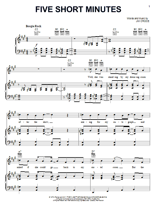 Jim Croce Five Short Minutes sheet music notes and chords