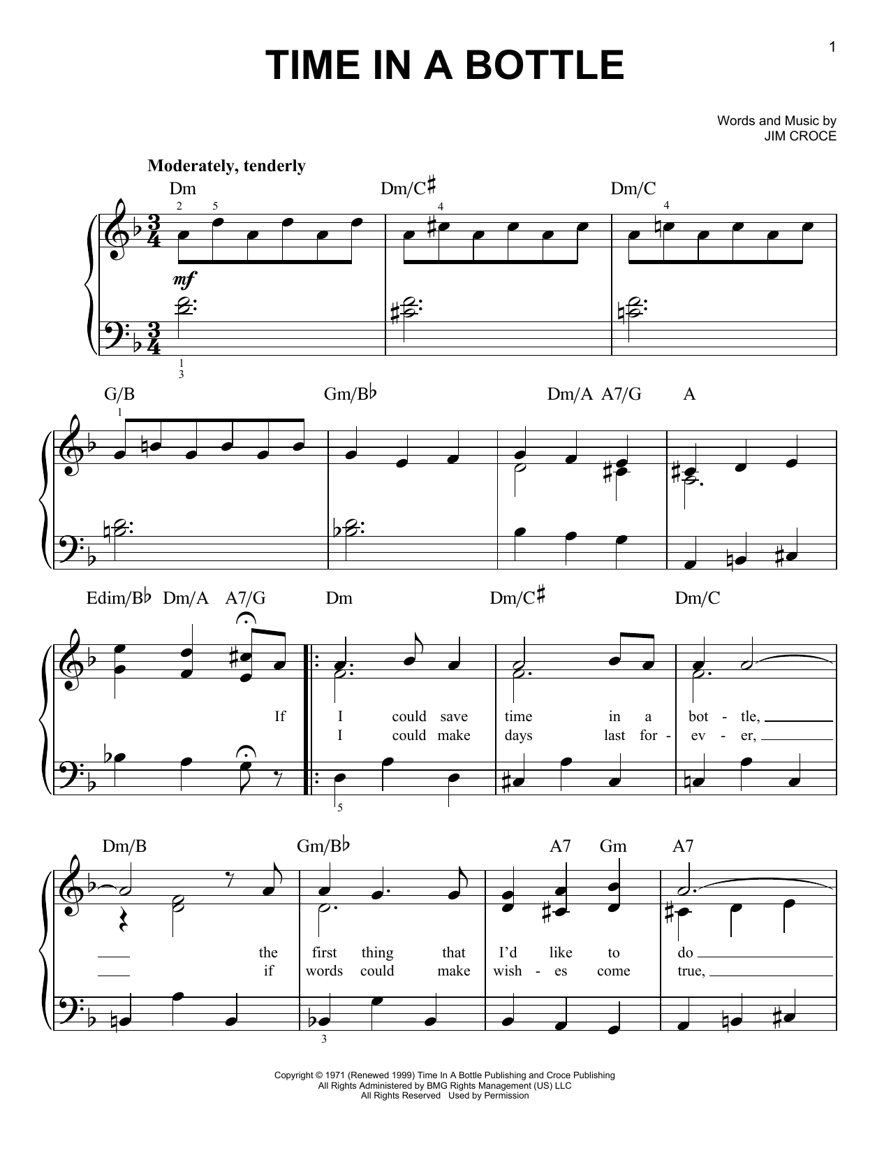 Download Jim Croce 'Time In A Bottle' Digital Sheet Music Notes & Chords and start playing in minutes
