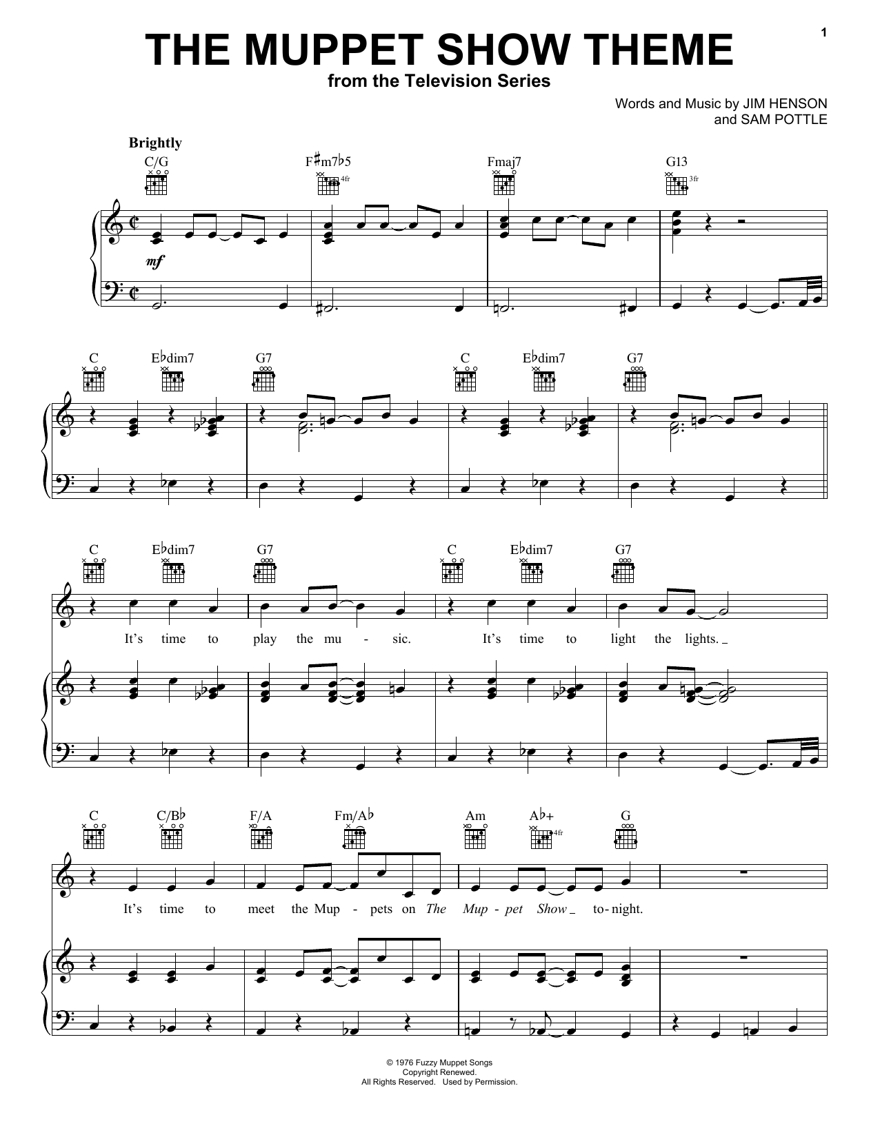Download Jim Henson 'The Muppet Show Theme' Digital Sheet Music Notes & Chords and start playing in minutes