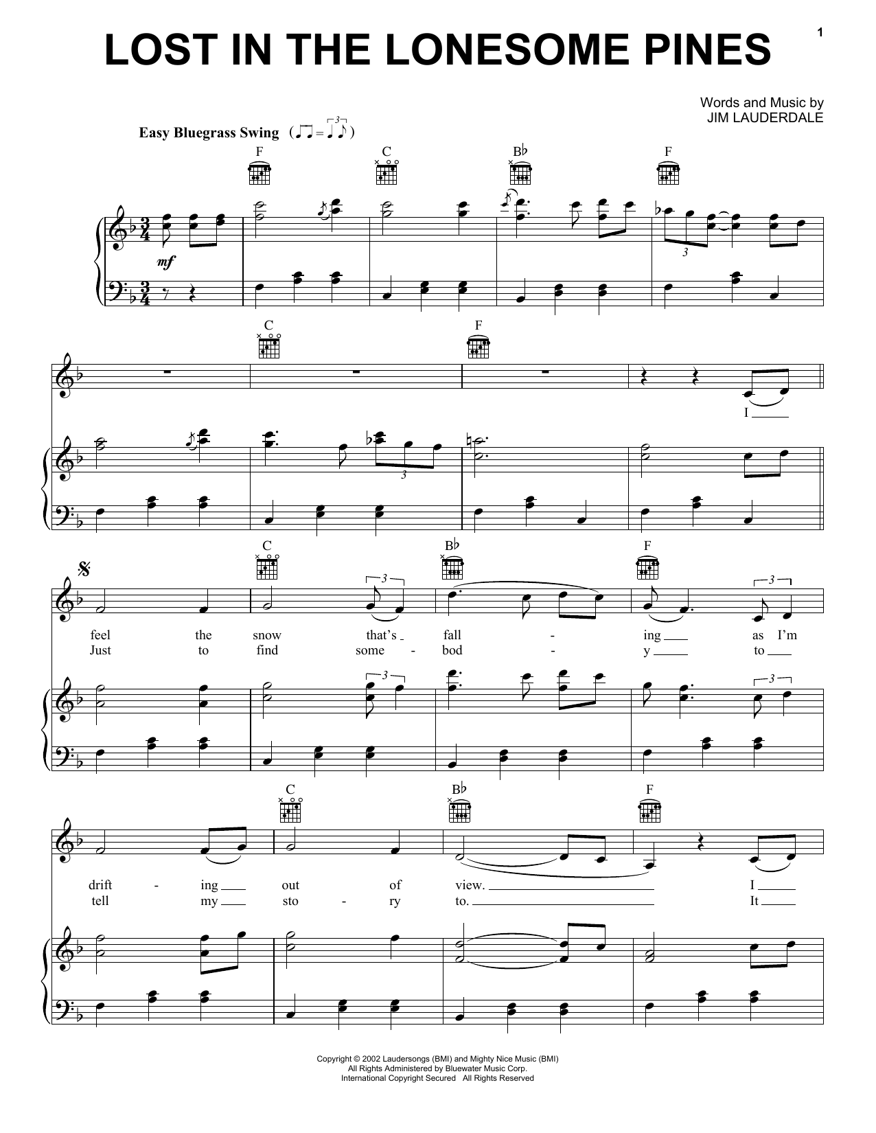 Jim Lauderdale, Ralph Stanley & The Clinch Mountain Boys Lost In The Lonesome Pines sheet music preview music notes and score for Piano, Vocal & Guitar (Right-Hand Melody) including 6 page(s)