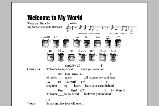 Jim Reeves Welcome To My World sheet music notes and chords