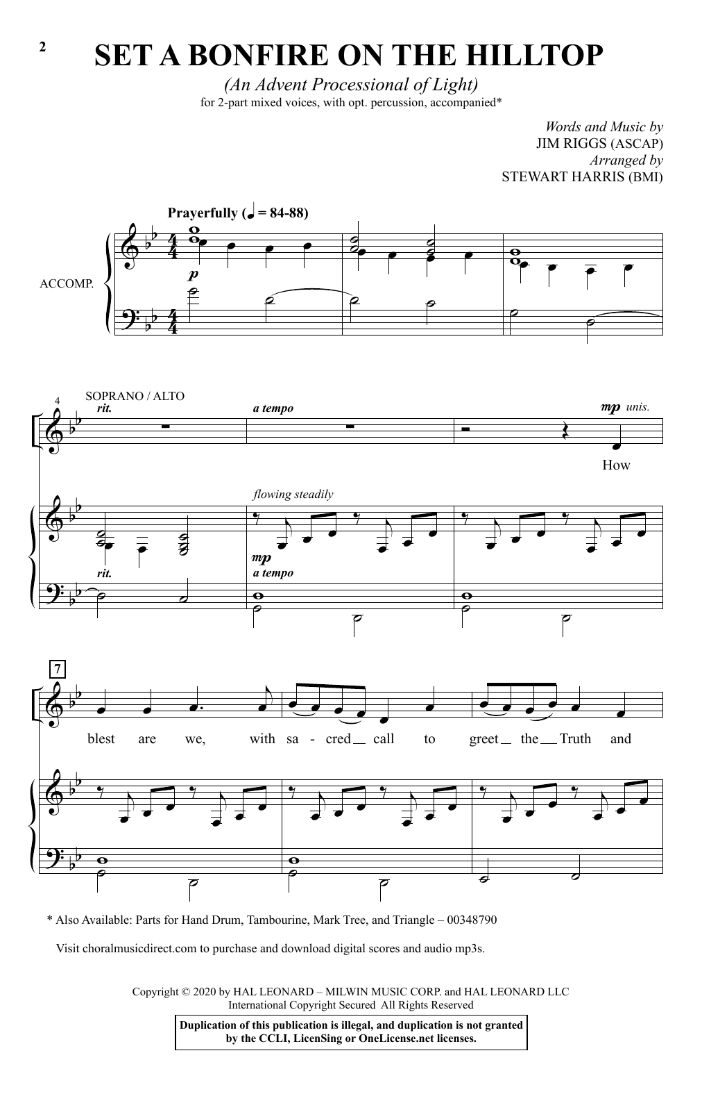 Download Jim Riggs 'Set A Bonfire On The Hilltop (An Advent Processional Of Light) (arr. Stewart Harris)' Digital Sheet Music Notes & Chords and start playing in minutes