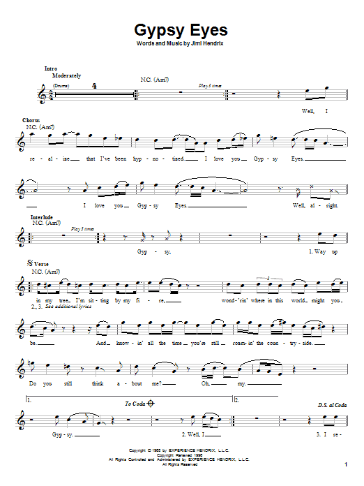 Jimi Hendrix Gypsy Eyes sheet music preview music notes and score for Melody Line, Lyrics & Chords including 3 page(s)