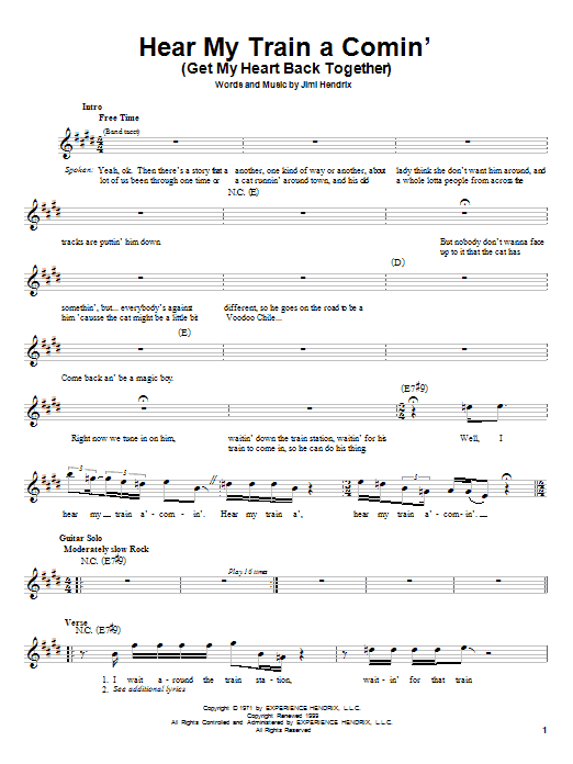 Jimi Hendrix Hear My Train A Comin' (Get My Heart Back Together) sheet music preview music notes and score for Melody Line, Lyrics & Chords including 4 page(s)