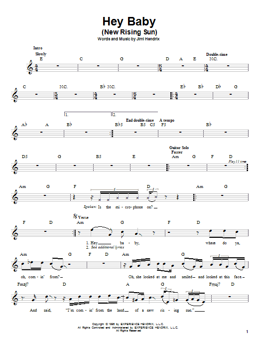 Jimi Hendrix Hey Baby (New Rising Sun) sheet music preview music notes and score for Melody Line, Lyrics & Chords including 3 page(s)