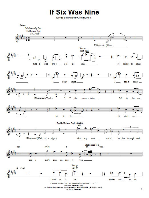 Jimi Hendrix If Six Was Nine sheet music preview music notes and score for Melody Line, Lyrics & Chords including 4 page(s)