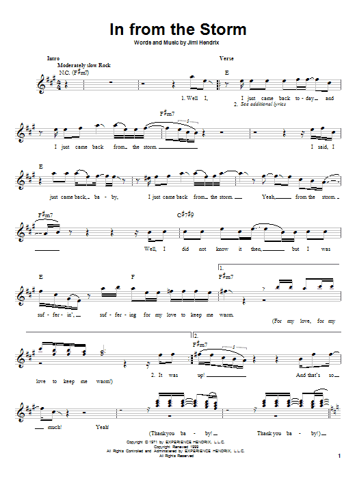 Jimi Hendrix In From The Storm sheet music preview music notes and score for Melody Line, Lyrics & Chords including 2 page(s)