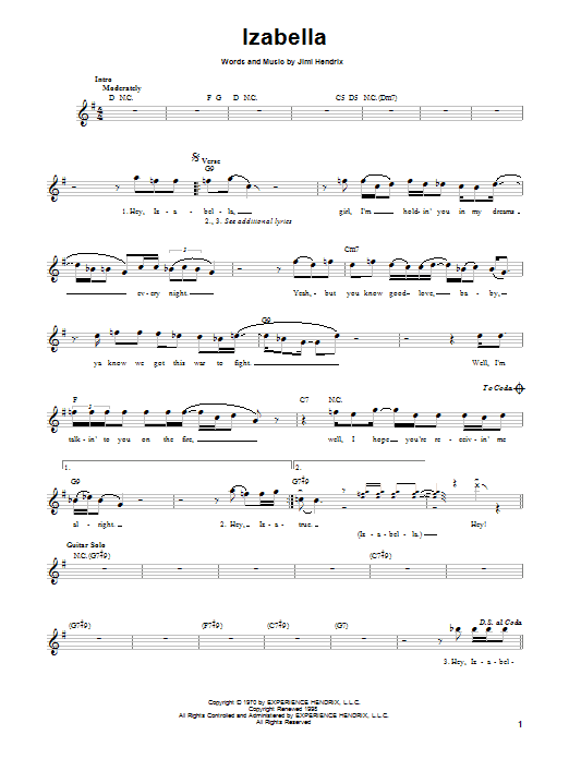 Jimi Hendrix Izabella sheet music preview music notes and score for Melody Line, Lyrics & Chords including 2 page(s)