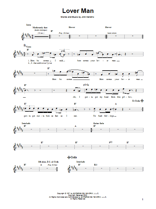 Jimi Hendrix Lover Man sheet music preview music notes and score for Melody Line, Lyrics & Chords including 3 page(s)