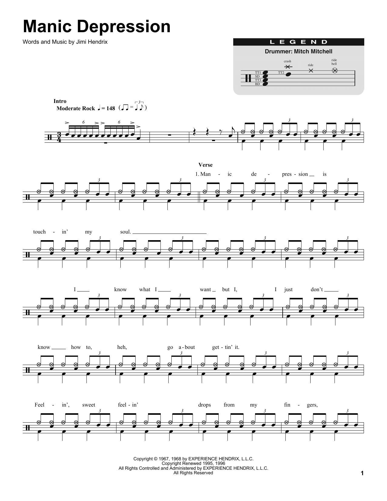 Jimi Hendrix Manic Depression sheet music preview music notes and score for Melody Line, Lyrics & Chords including 2 page(s)