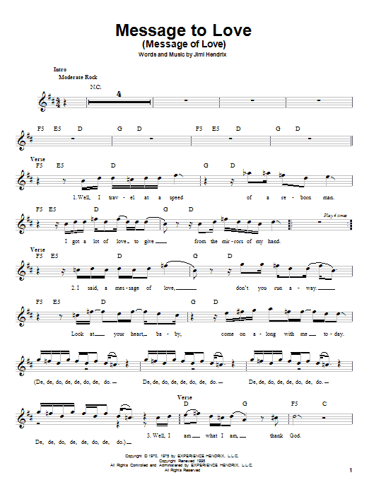 Jimi Hendrix Message To Love (Message Of Love) sheet music preview music notes and score for Melody Line, Lyrics & Chords including 3 page(s)