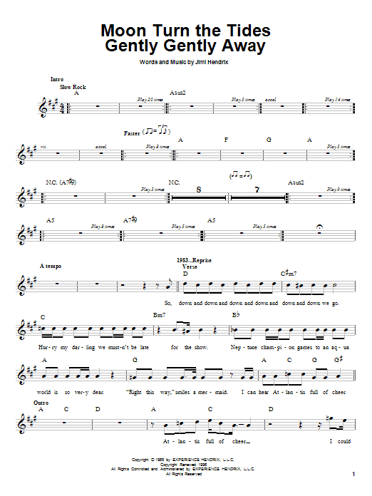 Jimi Hendrix Moon Turn The Tides Gently Gently Away sheet music preview music notes and score for Melody Line, Lyrics & Chords including 2 page(s)