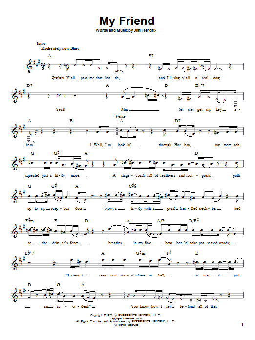 Jimi Hendrix My Friend sheet music preview music notes and score for Melody Line, Lyrics & Chords including 4 page(s)