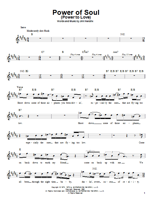 Jimi Hendrix Power Of Soul (Power To Love) sheet music preview music notes and score for Melody Line, Lyrics & Chords including 4 page(s)