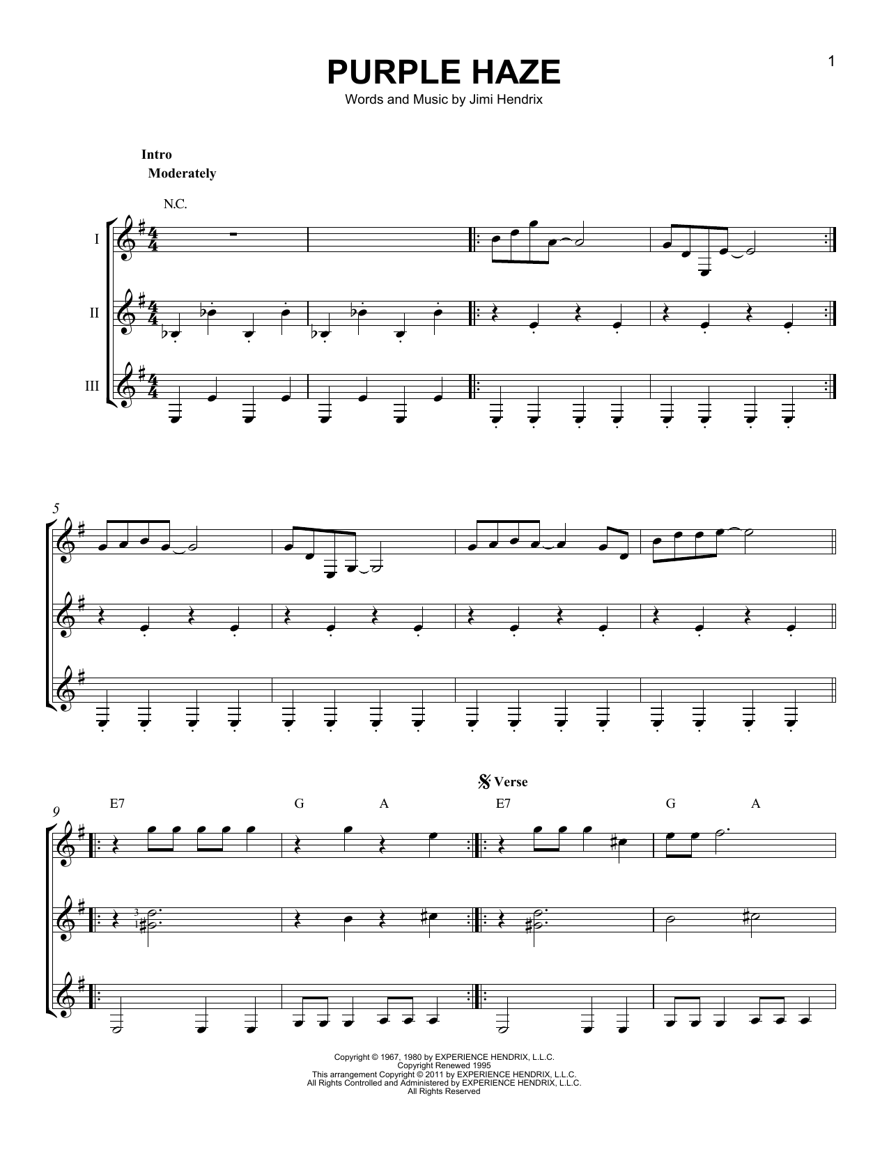 Jimi Hendrix Purple Haze sheet music preview music notes and score for Melody Line, Lyrics & Chords including 2 page(s)