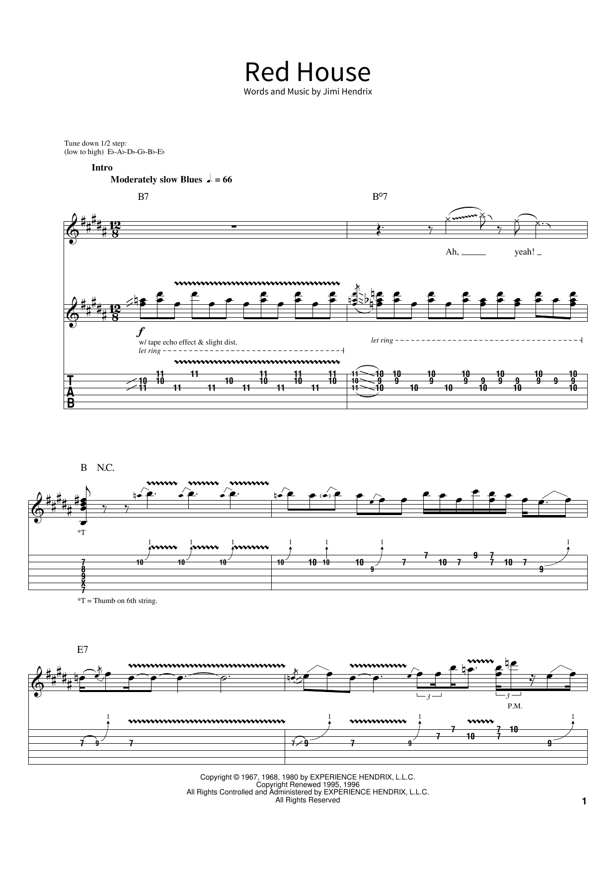 Jimi Hendrix Red House sheet music preview music notes and score for Melody Line, Lyrics & Chords including 2 page(s)