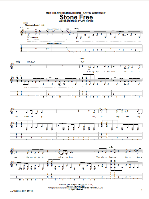 Jimi Hendrix Stone Free sheet music preview music notes and score for Melody Line, Lyrics & Chords including 3 page(s)