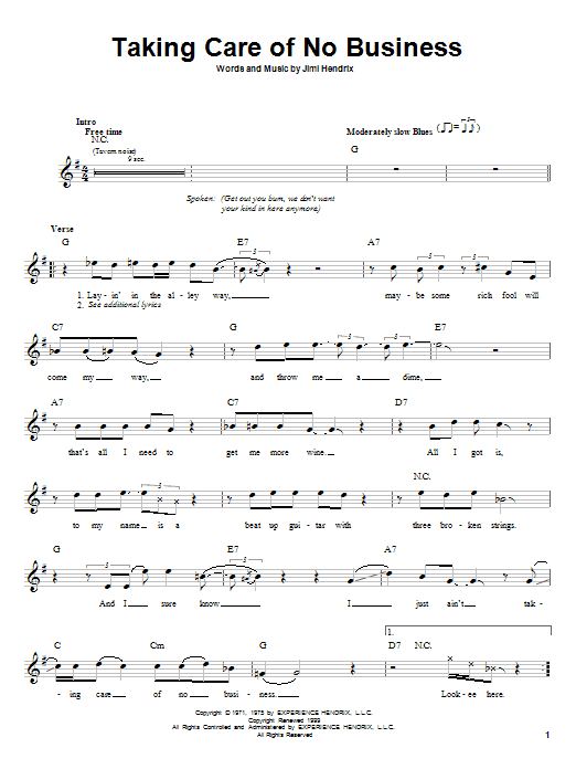 Jimi Hendrix Taking Care Of No Business sheet music preview music notes and score for Melody Line, Lyrics & Chords including 3 page(s)