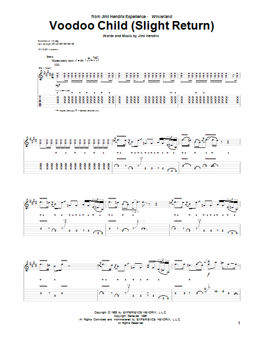 Jimi Hendrix Voodoo Child (Slight Return) sheet music preview music notes and score for Melody Line, Lyrics & Chords including 2 page(s)