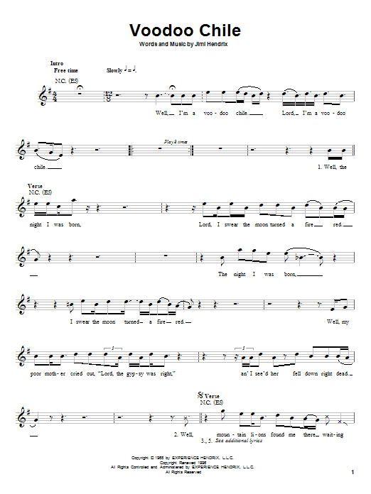Jimi Hendrix Voodoo Chile sheet music preview music notes and score for Melody Line, Lyrics & Chords including 4 page(s)